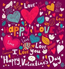 Fototapete - Vector Valentine Greeting card