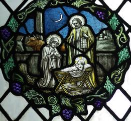 Fototapete - Birth of Jesus: nativity with Mary and Joseph