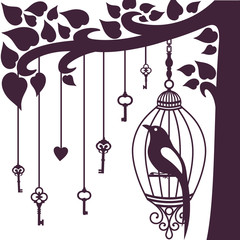 Printed roller blinds Birds in cages bird keys tree silhouette