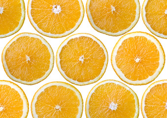 Food background - Sliced orange, isolated over white