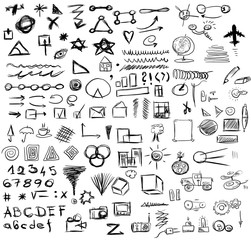 set doodle abstract business icons