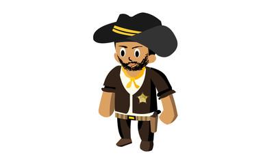 western sheriff vector cartoon