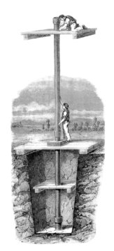 Building ArtesianWell - Tubage Puits Artesien - 19th century