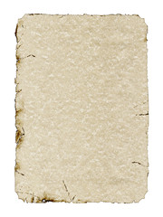 Aged parchment on white