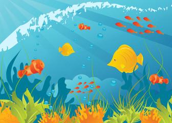 Poster Submarine Underwater background