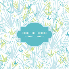 Vector blue bamboo branches frame seamless pattern background