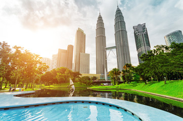 Aluminium Prints Kuala Lumpur Downtown of Kuala Lumpur in KLCC district
