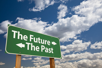 The Future, The Past Green Road Sign Over Clouds Wall mural