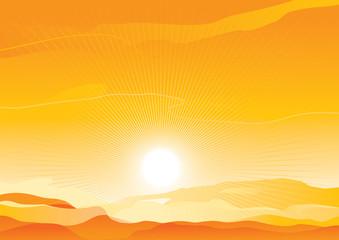 Vector background of  sunrise in sand desert