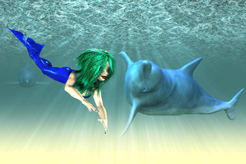 Mermaid girl with dolphins
