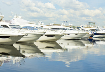 Yachts on water