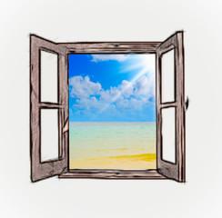 Sea view through an open window