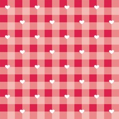 Seamless hearts red vector background checkered pattern