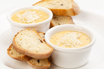 sauce with cheese and bread, isolated on white