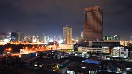 Skyline cityscape view at dusk in Bangkok