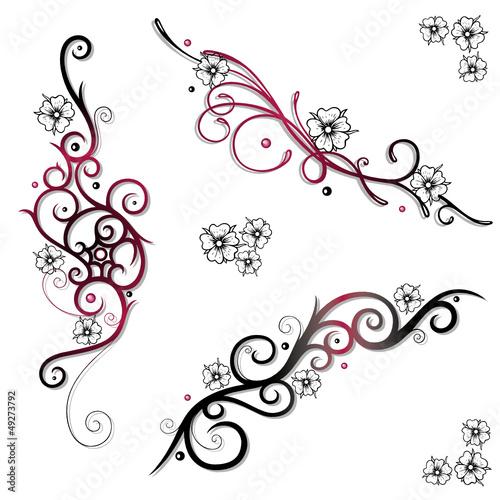 kirschbl ten cherry blossom ranken tattoos set stockfotos und lizenzfreie vektoren auf. Black Bedroom Furniture Sets. Home Design Ideas