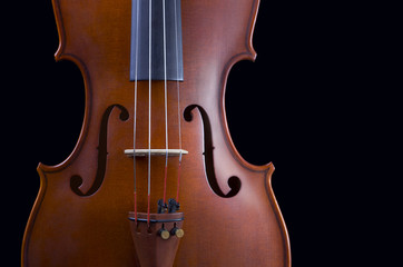 Classical violin - isolated on black background