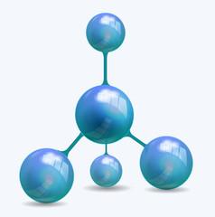 Vector blue molecule structure