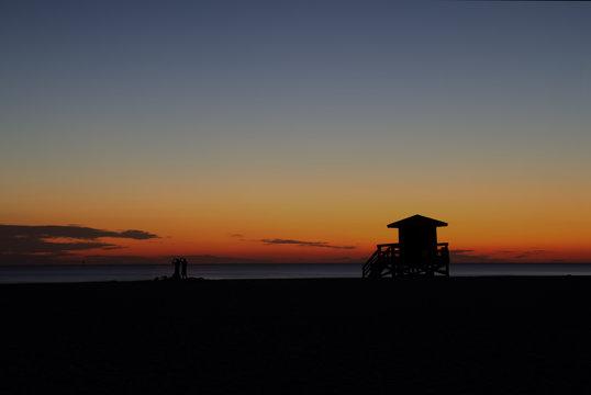 Lifeguard station on Siesta Key, Florida at sunset