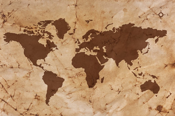 Aluminium Prints World Map Old World map on creased and stained parchment paper