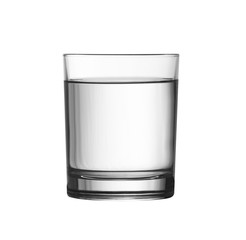 low full of water glass isolated on white with clipping path inc