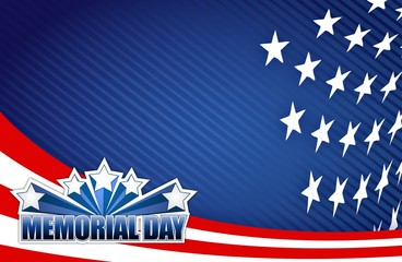 Memorial day red white and blue illustration