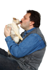 Man kisses cat