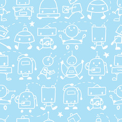 Vector cute doodle robots seamless pattern background with hand