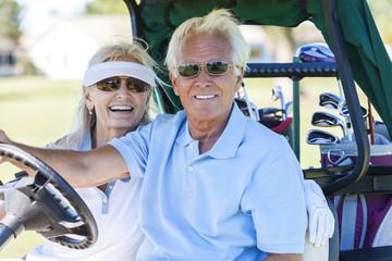 Senior Couple Playing Golf Driving Cart Buggy