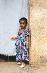 Serious little African girl