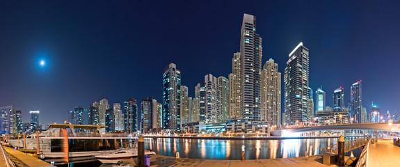 Dubai Marina at Night with Yachts Panorama
