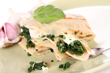 Pancake with spinach and feta cheese