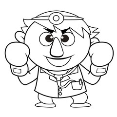 Outlined cute doctor