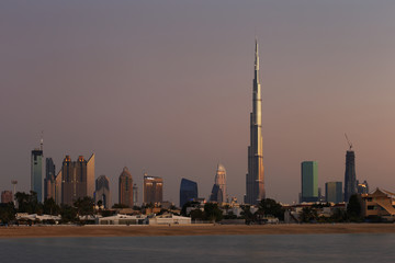 Dubai Skyline at dusk looking from Jumeirah Beach