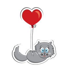 Cat with heart balloon. Sticker. Vector illustration
