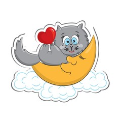 A cute cat with heart lying on the moon. Sticker. Vector