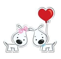 Funny dogs' couple in love. Sticker. Vector