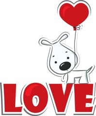 "Dog with the heart on the red word ""love"". Sticker. Vector"