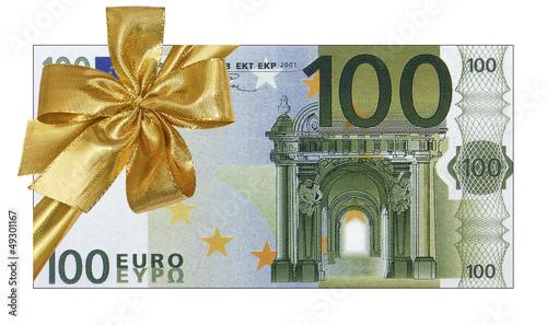 billet cadeau de 100 euros photo libre de droits sur la banque d 39 images image. Black Bedroom Furniture Sets. Home Design Ideas