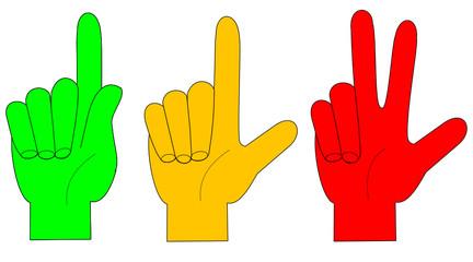 Fingergestik eins-zwei-drei