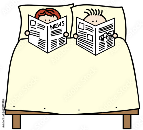 Zeitung Im Bett Lesen Stock Image And Royalty Free Vector Files On