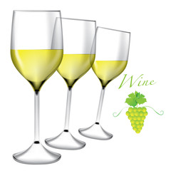 Glass of wine - Bunches of grapes vector