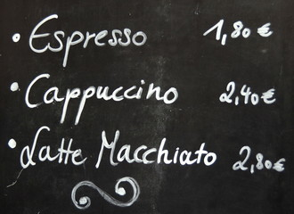 Menu For Coffee On A Blackboard Outside A European Cafe