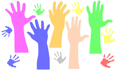 Farbige Arme Zeigen hoch