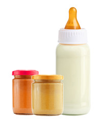 baby food and and milk bottle isolated on white