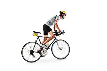 Male bicyclist riding a bike Wall mural