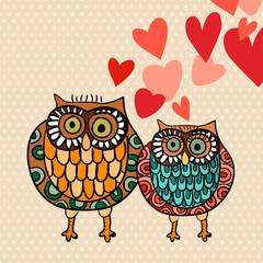 Valentine owl couple in love