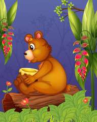 Canvas Prints Bears A bear sitting in a wood