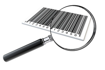 Magnifying glass searching bar codes