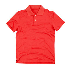 Blank polo t-shirt isolated on white background. Clipping paths